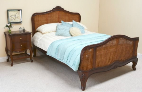 French Rattan Bed in Polished Mahogany